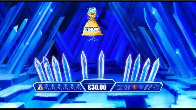 Selecting crystals will reveal either a cash prize or one of the hidden symbols loctaed on the right of the game board.