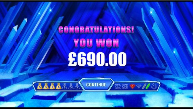 Crystal Bonus feature pays out a total of 690.00