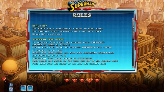 Bonus Bet and Superman Free Games Rules