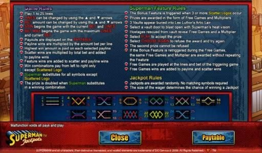 Game Rules, Superman Feature Rules, Jackpot Rules and Payline Diagrams