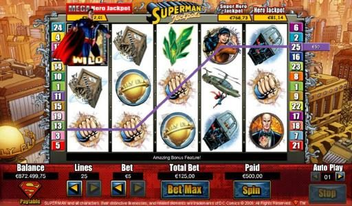 Superman wild triggers a $450 line pay