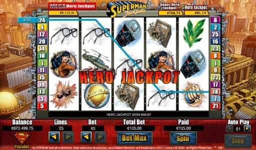Buran featuring the Video Slots Superman Jackpots with a maximum payout of Jackpot