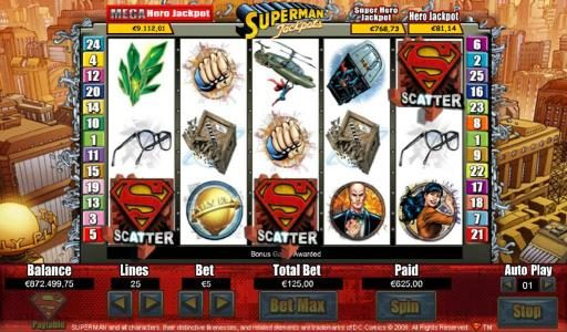 Three Superman logo scatter symbols triggers bonus feature