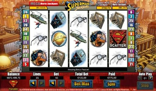 Lucky Bets featuring the Video Slots Superman Jackpots with a maximum payout of Jackpot