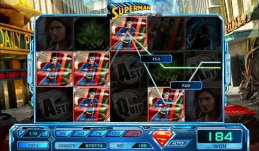 Mega Casino featuring the Video Slots Superman Last Son of Krypton with a maximum payout of $25,000