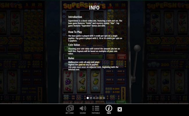 Next Casino featuring the Video Slots Supershots with a maximum payout of $20,000