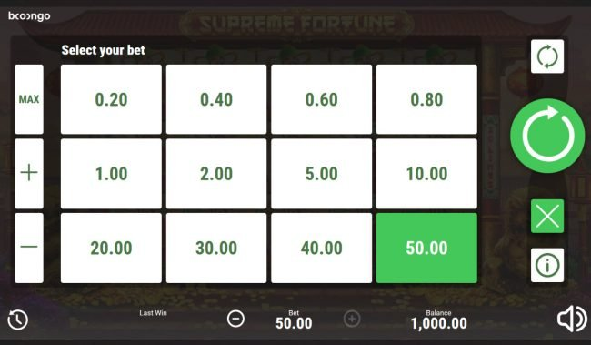 Supreme Fortune :: Betting Options