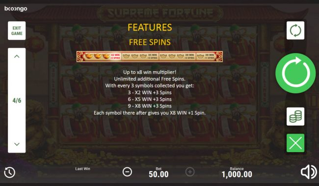 Supreme Fortune :: Free Spins Rules