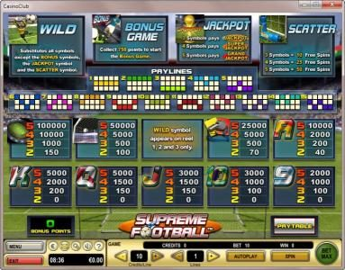 Mr Green featuring the Video Slots Supreme Football with a maximum payout of $90,000