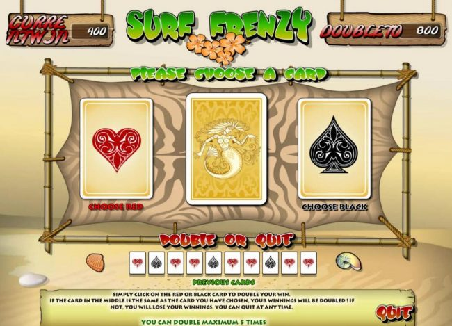 Videoslots featuring the Video Slots Surf Frenzy with a maximum payout of $1,000,000