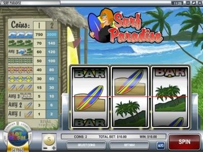 Play slots at Wizbet: Wizbet featuring the Video Slots Surf Paradise with a maximum payout of $30,000