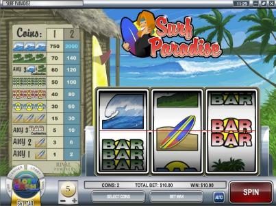 CoCoa featuring the Video Slots Surf Paradise with a maximum payout of $30,000