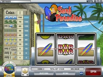 Rockbet featuring the Video Slots Surf Paradise with a maximum payout of $30,000