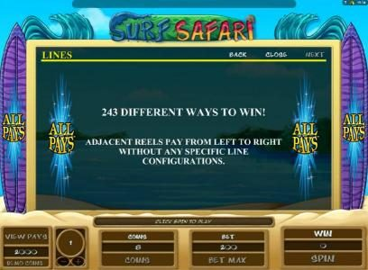 Stan James featuring the Video Slots Surf Safari with a maximum payout of $10,000