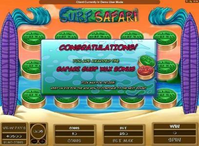 safari surf wax bonus feature awarded