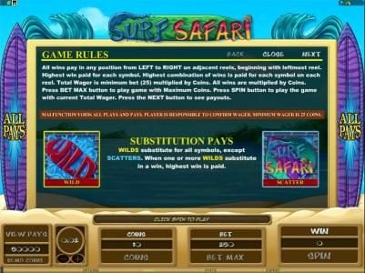 Casino Action featuring the Video Slots Surf Safari with a maximum payout of $312,500