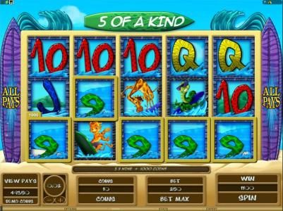 Rich Reels featuring the Video Slots Surf Safari with a maximum payout of $312,500