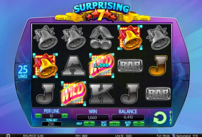 Unique Casino featuring the Video Slots Surprising 7 with a maximum payout of $125,000