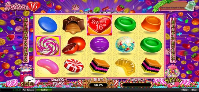 A candy themed main game board featuring five reels and 243 ways to win with a $312,500 max payout