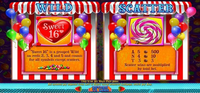 Sweet 16 :: Sweet 16 heart game logo is wild and the Lollipop swirl is the games scatter symbol.