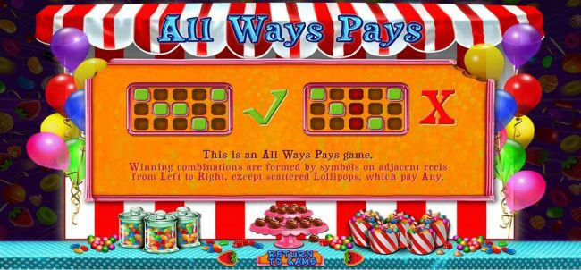 Sweet 16 :: This is an All Ways Pays game. Winning combinations are formed by symbols on adjacent reels from left to right, except scattered lollipops, which pay any.