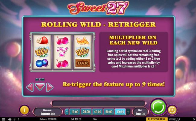 Jonny Jackpot featuring the Video Slots Sweet 27 with a maximum payout of $5,000