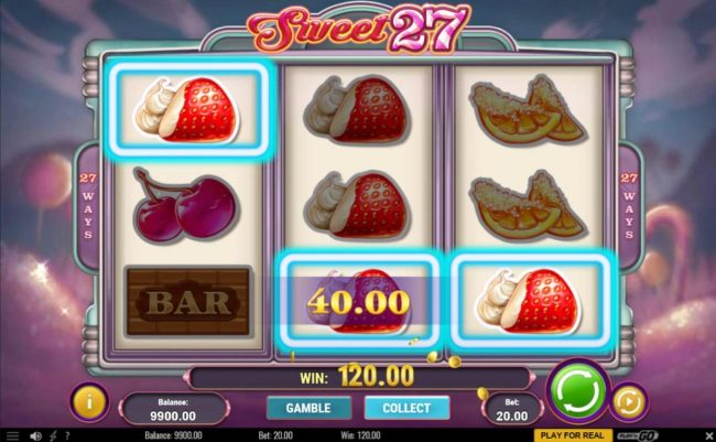 Instacasino featuring the Video Slots Sweet 27 with a maximum payout of $5,000