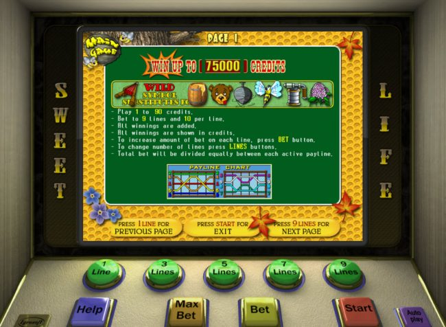 Malina featuring the Video Slots Sweet Life with a maximum payout of $7,500