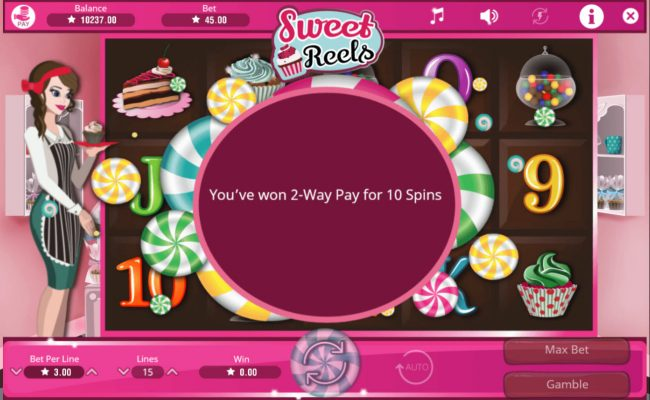 All Wins Casino featuring the Video Slots Sweet Reels with a maximum payout of $15,000