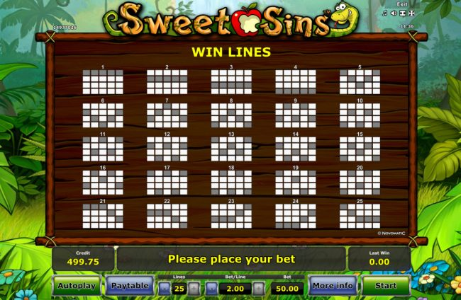 Quasar featuring the Video Slots Sweet Sins with a maximum payout of $25,000