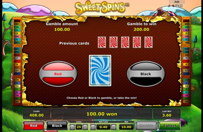 Sweet Spins :: Red or Black Gamble feature