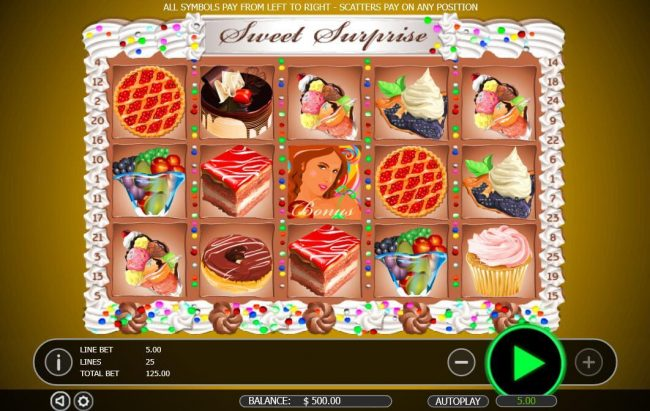 Play slots at Winward: Winward featuring the Video Slots Sweet Surprise with a maximum payout of $12,500