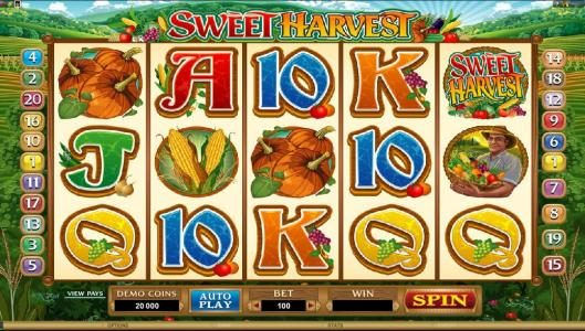 Play slots at Cinema: Cinema featuring the Video Slots Sweet Harvest with a maximum payout of $500,000