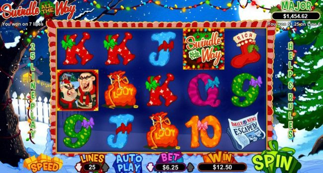 Slots of Vegas featuring the Video Slots Swindle All the Way with a maximum payout of $12,500