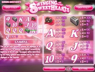 Slots Jackpot featuring the Video Slots Swinging Sweethearts with a maximum payout of $24,998