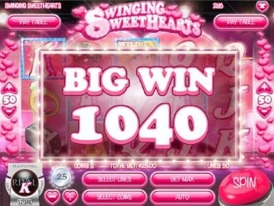 The free spins feature pays out a total of 1040 coins.