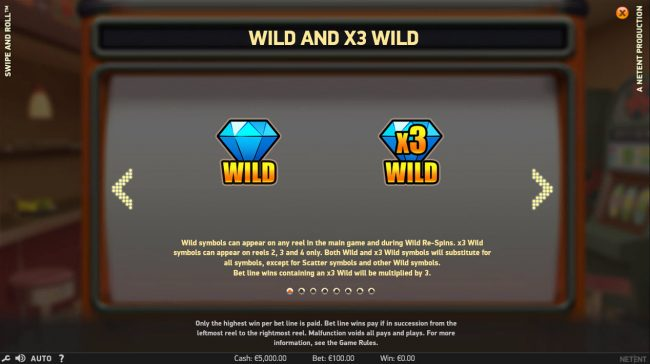 Free Spins featuring the Video Slots Swipe and Roll with a maximum payout of $810,000
