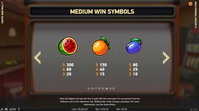 Fruity Vegas featuring the Video Slots Swipe and Roll with a maximum payout of $810,000
