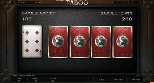 Vegas Crest featuring the Video Slots Taboo with a maximum payout of $125,000