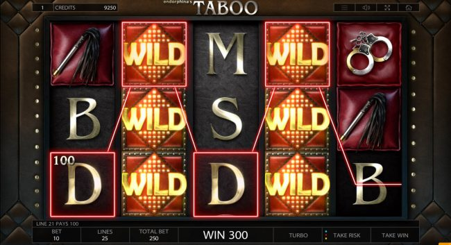 Wild Jackpots featuring the Video Slots Taboo with a maximum payout of $125,000