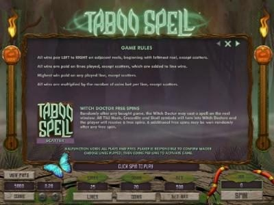 Casino Extra featuring the Video Slots Taboo Spell with a maximum payout of $4,000