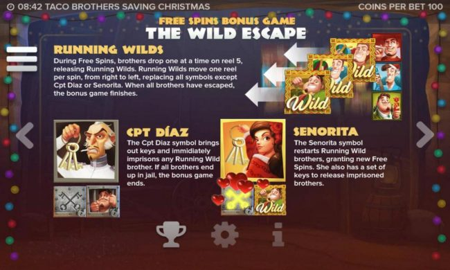Taco Brothers Saving Christmas :: Free Spins Bonus Game The Wild Escape - Game Rules