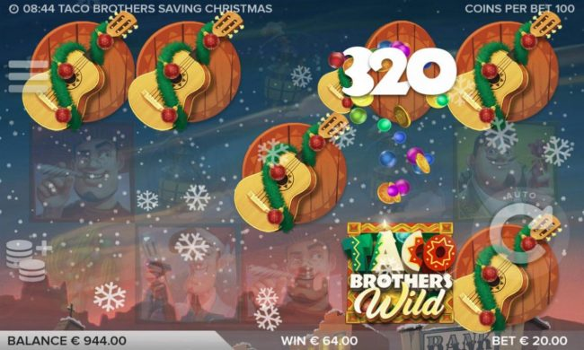 Taco Brothers Saving Christmas :: Multiple winning combinations of guitar symbols leads to a 320 coin jackpot.