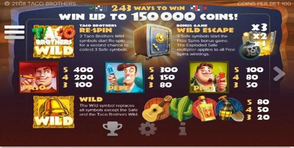 Vbet Casino featuring the Video Slots Taco Brothers with a maximum payout of $7,500,000