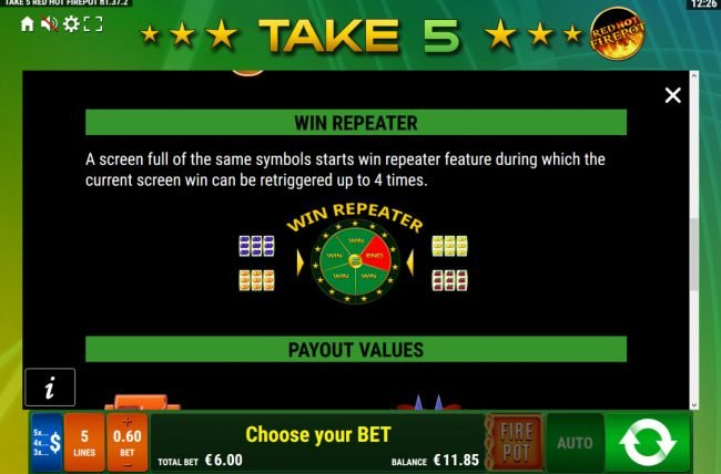 Take 5 Red Hot Firepot :: Win Repeater Rules