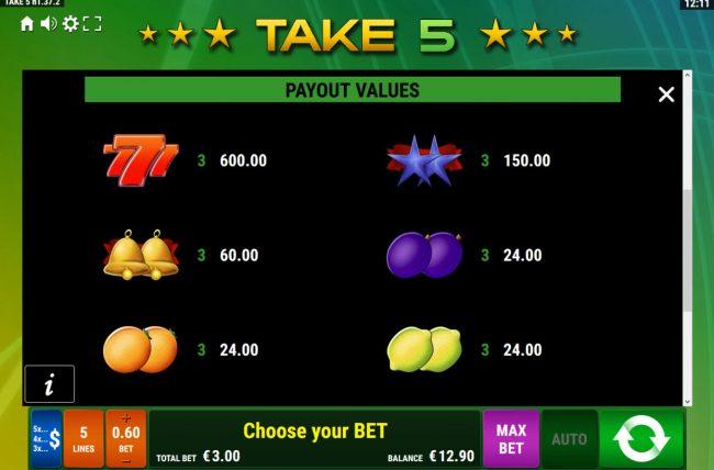 Take 5 :: Paytable