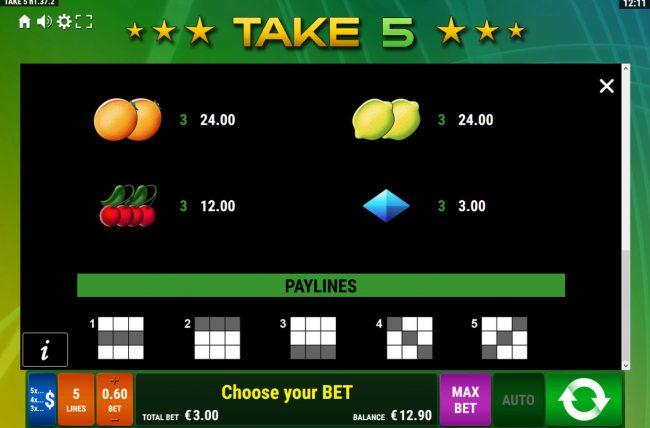 Take 5 :: Paylines 1-5