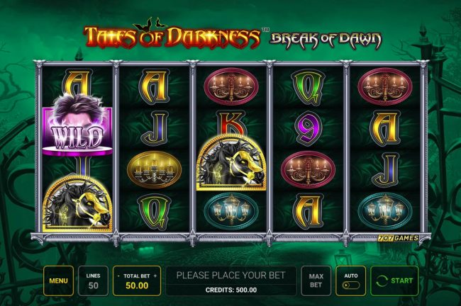 Quasar featuring the Video Slots Tales of Darkness Break of Dawn with a maximum payout of $50,000