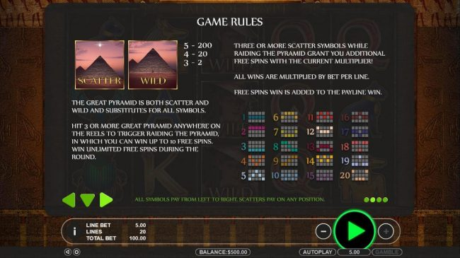 Rich Casino featuring the Video Slots Tales of Egypt with a maximum payout of $5,000