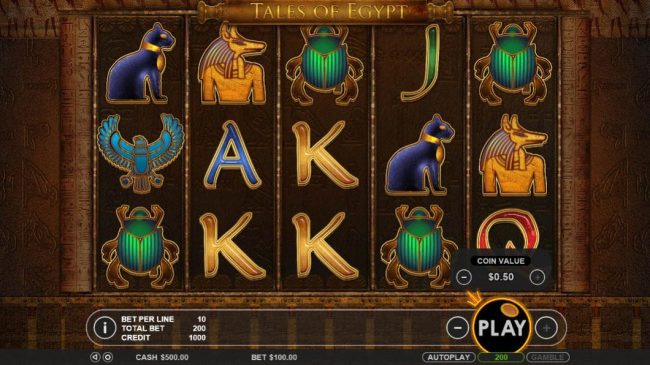VipSpel featuring the Video Slots Tales of Egypt with a maximum payout of $5,000
